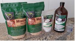 Kit Nº 03 -  Tratamento para 3 meses  (para 1 pessoa) Contém: 2 embalagens de Maca peruana com 700g cada + 1 Cloreto de