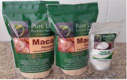 Kit Nº 04 - Tratamento para 3 meses  (para 1 pessoa) Contém: 2 embalagens de Maca peruana com 700g cada + 1 Cloreto de M